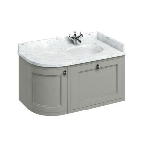 Burlington Dark Olive Wall Hung Curved Right Hand Vanity Unit 1000mm (Carrara White)