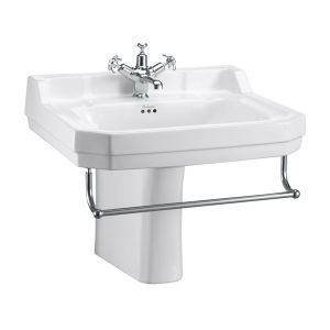 Burlington Edwardian Basin and Semi Pedestal with Towel Rail 610mm