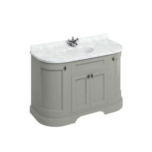 Burlington Dark Olive Freestanding Curved Vanity Unit 1340mm Minerva White