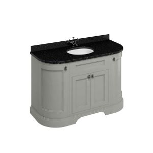Burlington Dark Olive Freestanding Curved Vanity Unit 1340mm Black Granite