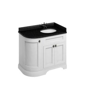 Burlington Matt White Freestanding Right End Round Vanity Unit 980mm Granite White
