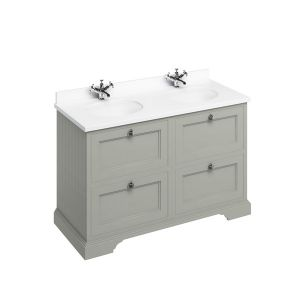 Burlington Dark Olive Freestanding Vanity Unit 1300mm Minerva White