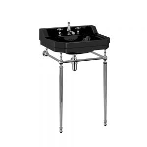 Burlington Jet Edwardian Basin with Chrome Washstand 560mm