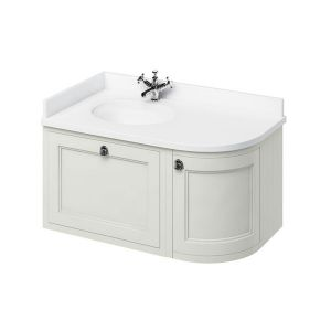 Burlington Sand Wall Hung Curved Left Hand Vanity Unit 1000mm (White)