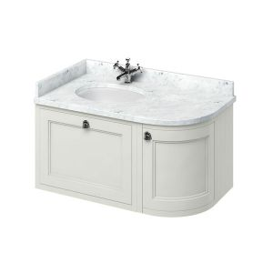Burlington Sand Wall Hung Curved Left Hand Vanity Unit 1000mm (Carrara White)