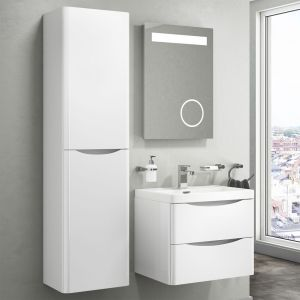 Bali Gloss White Wall Mounted Vanity Unit 600mm Lifestyle