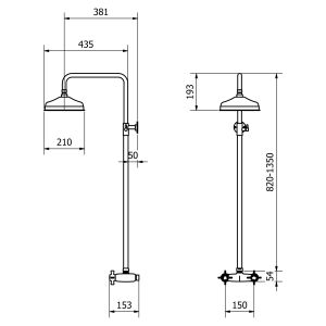 Cassellie Buxton Traditional Thermostatic Shower Kit Dimensions