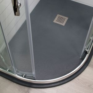 Cassellie Cass Stone Anthracite Slate Effect Offset Quadrant Shower Tray 1200 x 900mm Left Handed