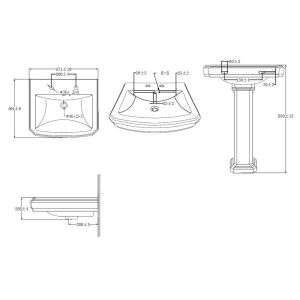 Cassellie Cromford 2 Tap Hole Basin and Pedestal Drawing