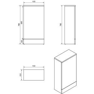 Cassellie Cube White Combination Furniture Pack 810mm Drawing