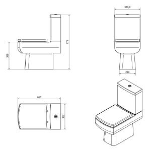 Cassellie Daisy Lou Close Coupled Toilet Dimensions