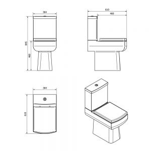 Cassellie Daisy Lou Comfort Height Close Coupled Toilet Dimensions