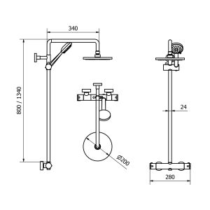 Cassellie Deana Thermostatic Mixer Shower Kit Drawing