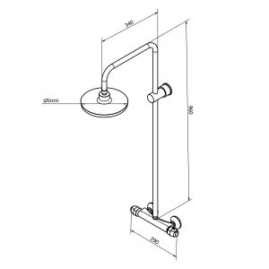 Cassellie Drum Thermostatic Shower Kit Dimensions