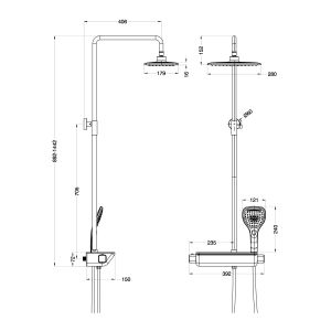Cassellie Garda Thermostatic Shower Kit Dimensions