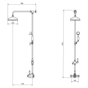 Cassellie Grand Traditional Rigid Riser Shower Kit Dimensions