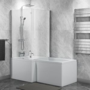 Cassellie Halle L Shape Shower Bath with Hinged Screen and Front Panel