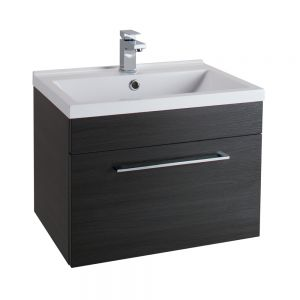 Cassellie Idon Black Wall Hung Vanity Unit with Basin 600mm