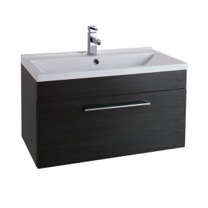 Cassellie Idon Black Wall Hung Vanity Unit with Basin 800mm