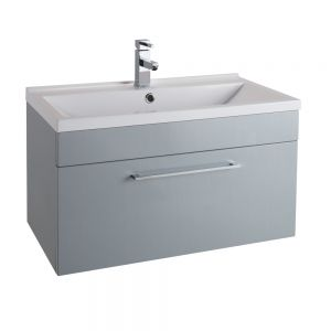 Cassellie Idon Grey Wall Hung Vanity Unit with Basin 800mm