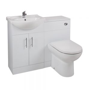 Cassellie Kass Series White Combination Unit with Devon Toilet