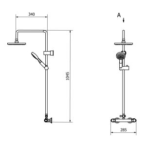 Cassellie Lagos Thermostatic Shower Kit Drawing