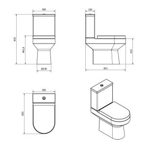 Cassellie Montego Close Coupled Toilet Drawing