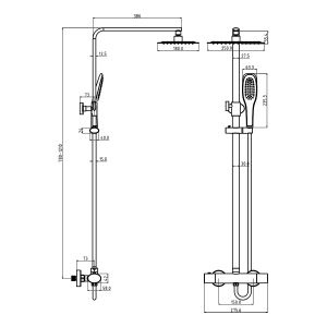 Cassellie Oval Thermostatic Shower Kit Dimensions