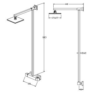 Cassellie Term Thermostatic Shower Kit Drawing