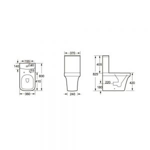 Cassellie Rivelin Flush To Wall Toilet with Wrapover Seat Drawing