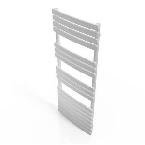 Cassellie White Straight Heated Towel Rail With Flat Profile 1200 x 500mm