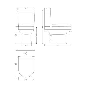 Nuie Harmony Close Coupled Toilet with Soft Close Seat Measurements