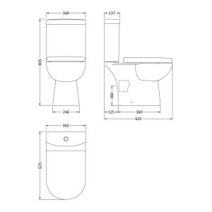 Nuie Lawton Close Coupled Toilet with Soft Close Seat Measurements
