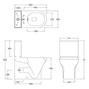 RAK Compact Rimless Deluxe Comfort Height Fully Back To Wall Toilet Measurements