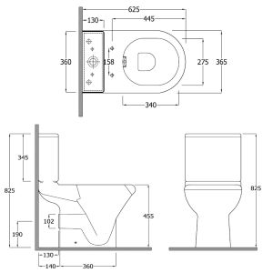 RAK Compact Rimless Deluxe Comfort Height Full Access Toilet Measurements