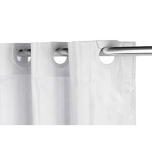 Croydex Textile White Regency Stripe Hookless Shower Curtain Detail