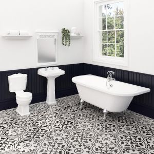 Nuie Legend Traditional Bathroom Suite with Back To Wall Bath