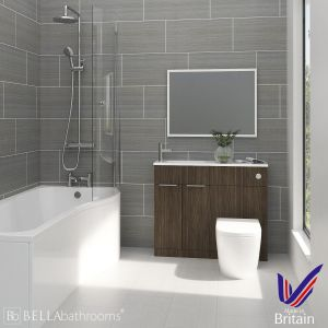 Elation Combination Bodega Grey Furniture Suite with Right Hand P Shape Shower Bath