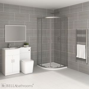 Elation Combination L Shape White Furniture Suite with April Destini Quadrant Shower Enclosure