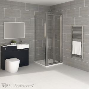 Elation Combination P Shape Indigo Matt Furniture Suite with April Destini Bi Fold Shower Enclosure