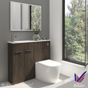 Elation Combination Straight Bodega Grey Furniture Pack 1000mm Left Hand with Cayton Toilet