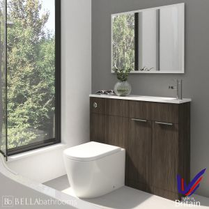 Elation Combination Straight Bodega Grey Furniture Pack 1000mm Right Hand with Cayton Toilet