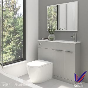 Elation Combination Straight Pearl Grey Matt Furniture Pack 1000mm Right Hand with Cayton Toilet