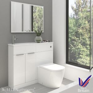 Elation Combination Straight White Furniture Pack 1000mm Left Hand with Cayton Toilet