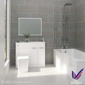 Elation Combination White Furniture Suite with Left Hand L Shape Shower Bath
