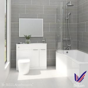Elation Combination White Furniture Suite with Left Hand P Shape Shower Bath