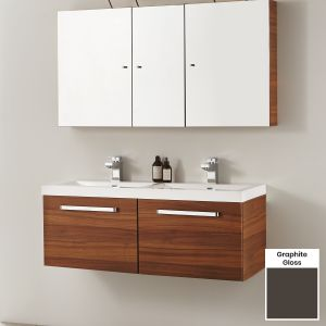 Elation Eko Graphite Gloss Vanity Unit with Groove Drawer 1100mm