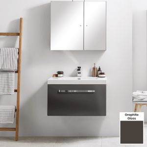 Elation Eko Graphite Gloss Vanity Unit with Groove Drawer 750mm