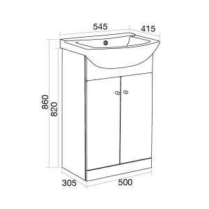 Ikoma White Gloss Vanity Unit with Basin 550mm Dimensions