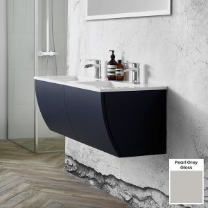 Elation Kiyo Pearl Grey Gloss Vanity Unit 1100mm